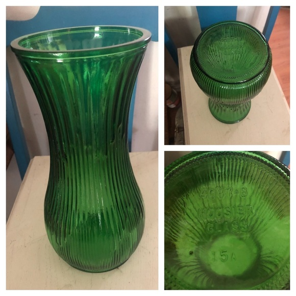 Vintage Hoosier Green Glass Vase